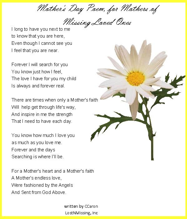 Mothers Day Poems Prayers   Mother's Day Poem - For Mothers of ...