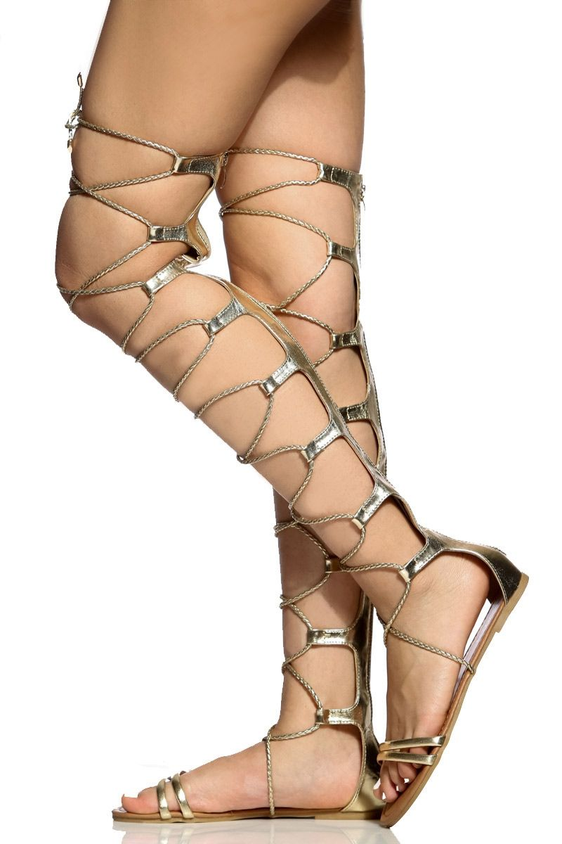 8a6d9b450839 Gold Faux Leather Lace Up Thigh High Sandals   Cicihot Sandals Shoes online  store sale Sandals