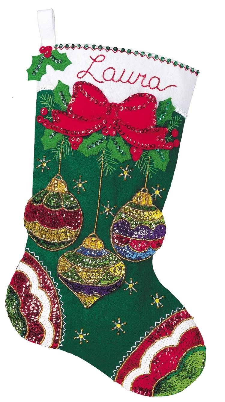 jeweled ornaments bucilla christmas stocking kit - Christmas Stocking Kits