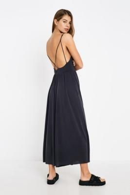 UO Molly Cupro Culotte Jumpsuit – black XS at Urban Outfitters