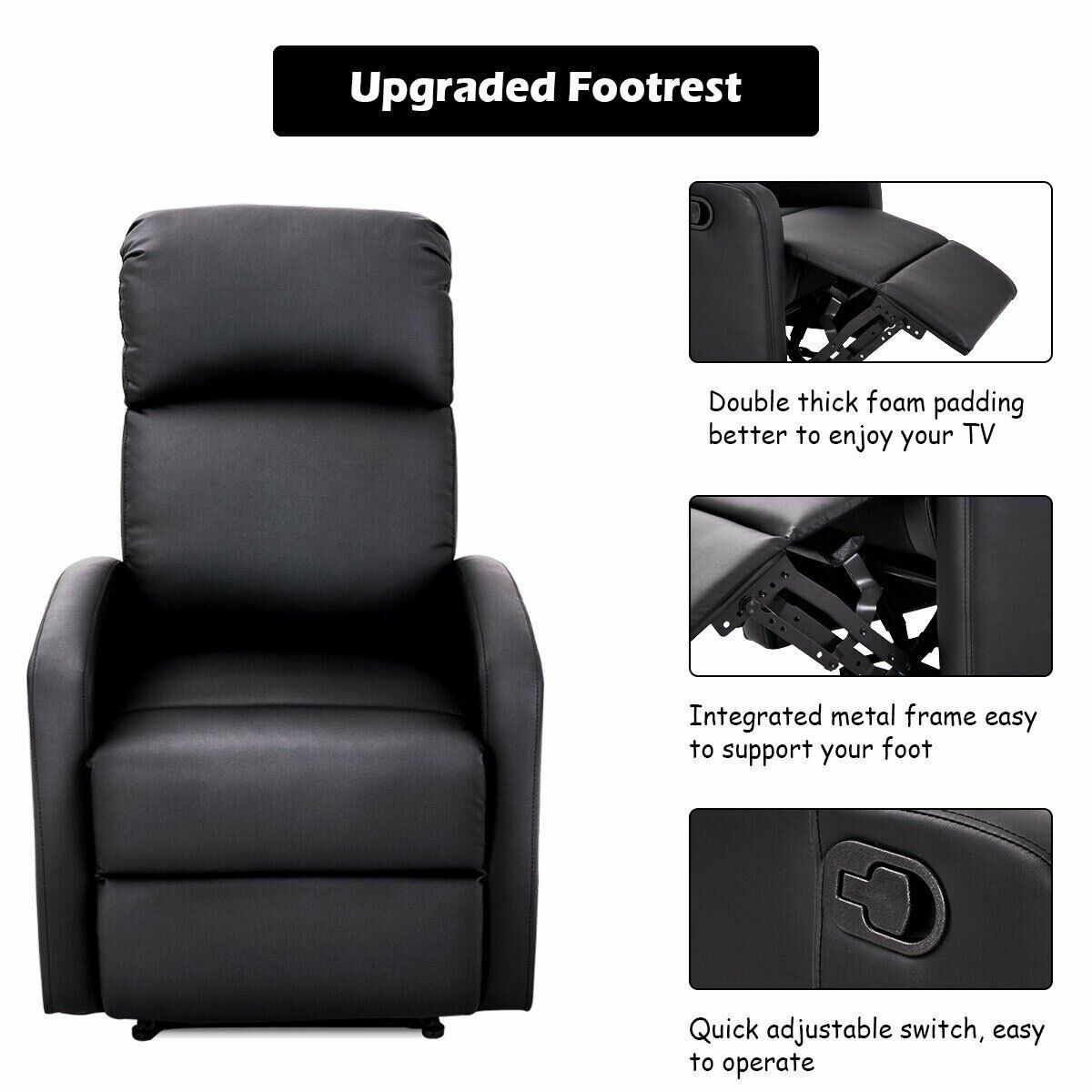 Incredible Black Pu Leather Recliner Massage Chair Sofa Furniture In Ncnpc Chair Design For Home Ncnpcorg