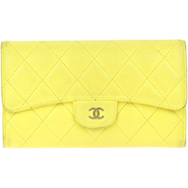 0c71303fe0ee5b Pre-owned Chanel Lambskin Quilted Large Gusset L Flap Wallet ($495) ❤ liked  on Polyvore featuring bags, wallets, yellow wallet, pre owned bags, lambskin  ...