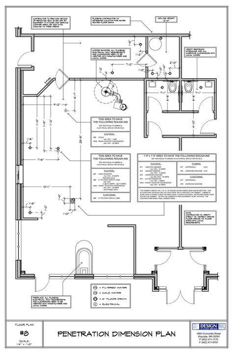 Cafe Floor Penetrations For Equipment Floor Plan Layout Floor Plans Floor Plan With Dimensions