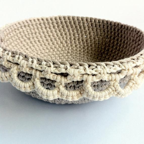 Nesting Crochet Bowls Pattern / Stacking Bowl Pattern / Crochet Lace Edged Bowls #crochetbowl