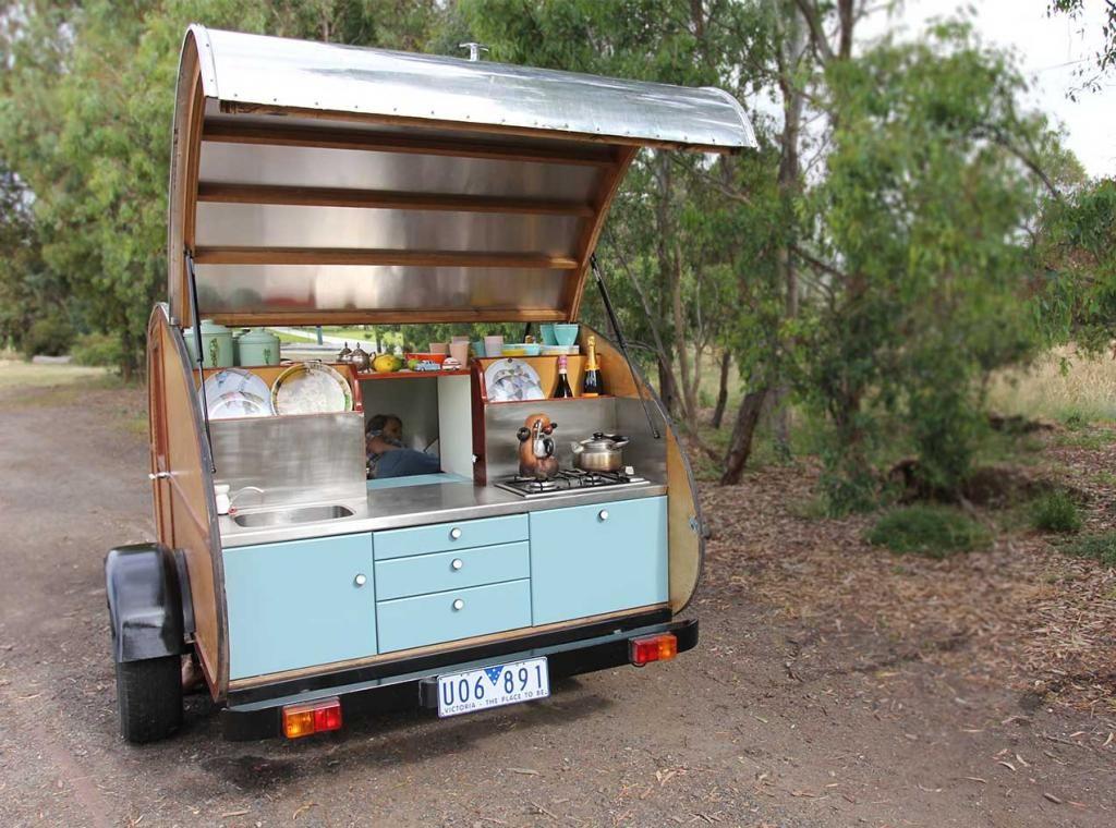 Kitchen In A Teardrop Camper By Sawhorse