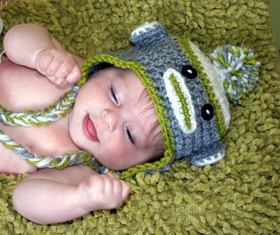 Crochet Boys Sock Monkey Hat #sockmoneky