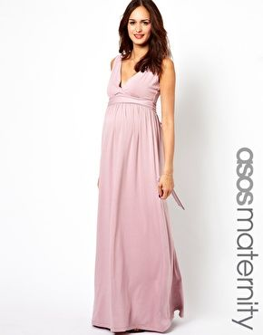 737f22ff767 Image 1 of ASOS Maternity Exclusive Maxi Dress with Grecian Drape in love  with rose