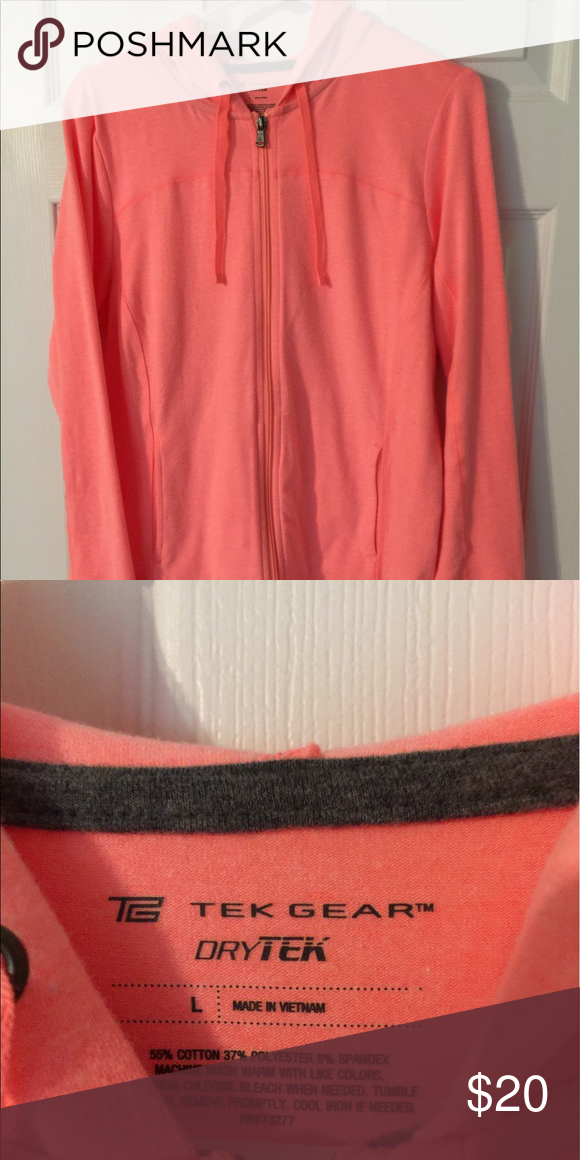 Jacket *. Coral/ Orange color *. Trek gear  *. Zip up  *. Never worn *. Size Large *. With hood Jackets & Coats