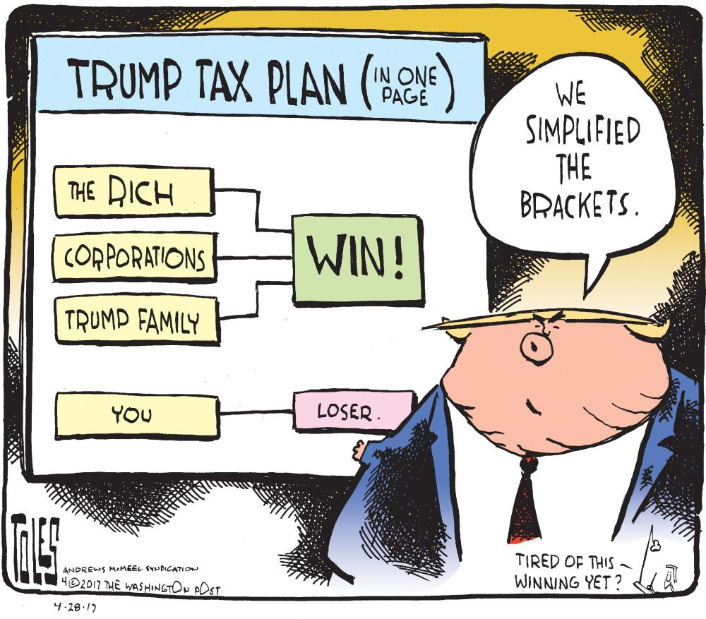 Image result for cartoon trump and the middle class tax cut