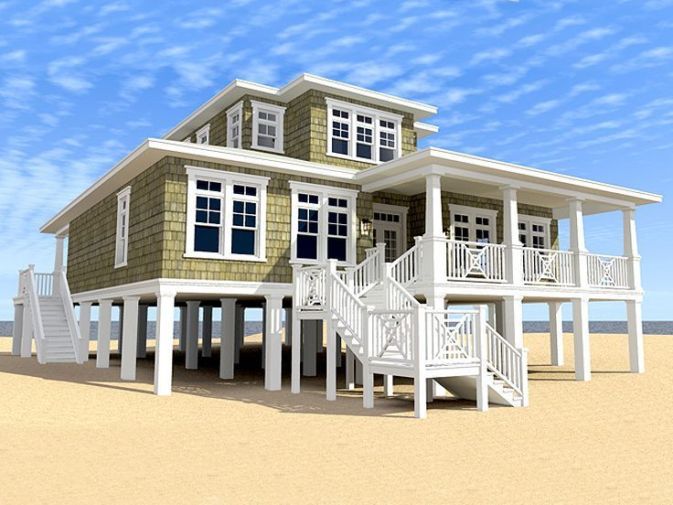 Beach House Plans Two-story Coastal home plan # 052H-0095 at