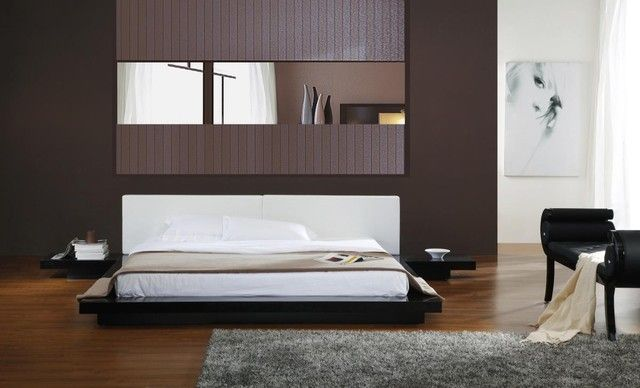 Furniture, Appealing Asian Beds Low Profile Style White Bedding And ...