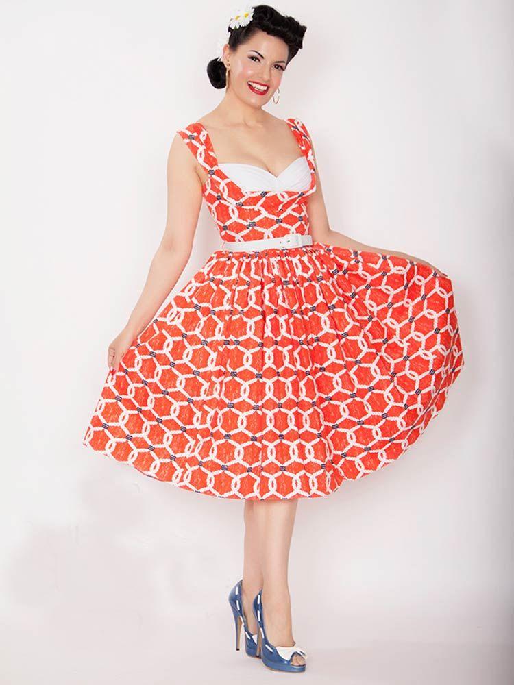 Bright orange 1950s inspired nautical dress by Bernie ...