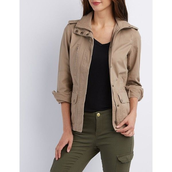 Charlotte Russe Zip-Up Anorak Jacket ($26) ❤ liked on Polyvore featuring outerwear, jackets, khaki, stand up collar jacket, charlotte russe jackets, stand collar jacket, shiny jacket and zip up jackets
