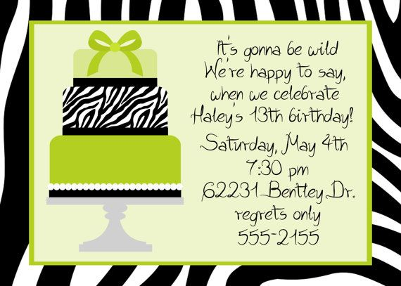 Zebra birthday party invitation by celebrationspaperie on etsy items similar to zebra cake teen birthday party invitation on etsy stopboris