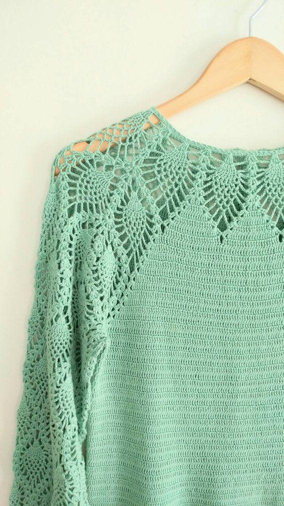 SALE VintageMint Green Crochet Knit Dress Flower Buttons Boho | Etsy