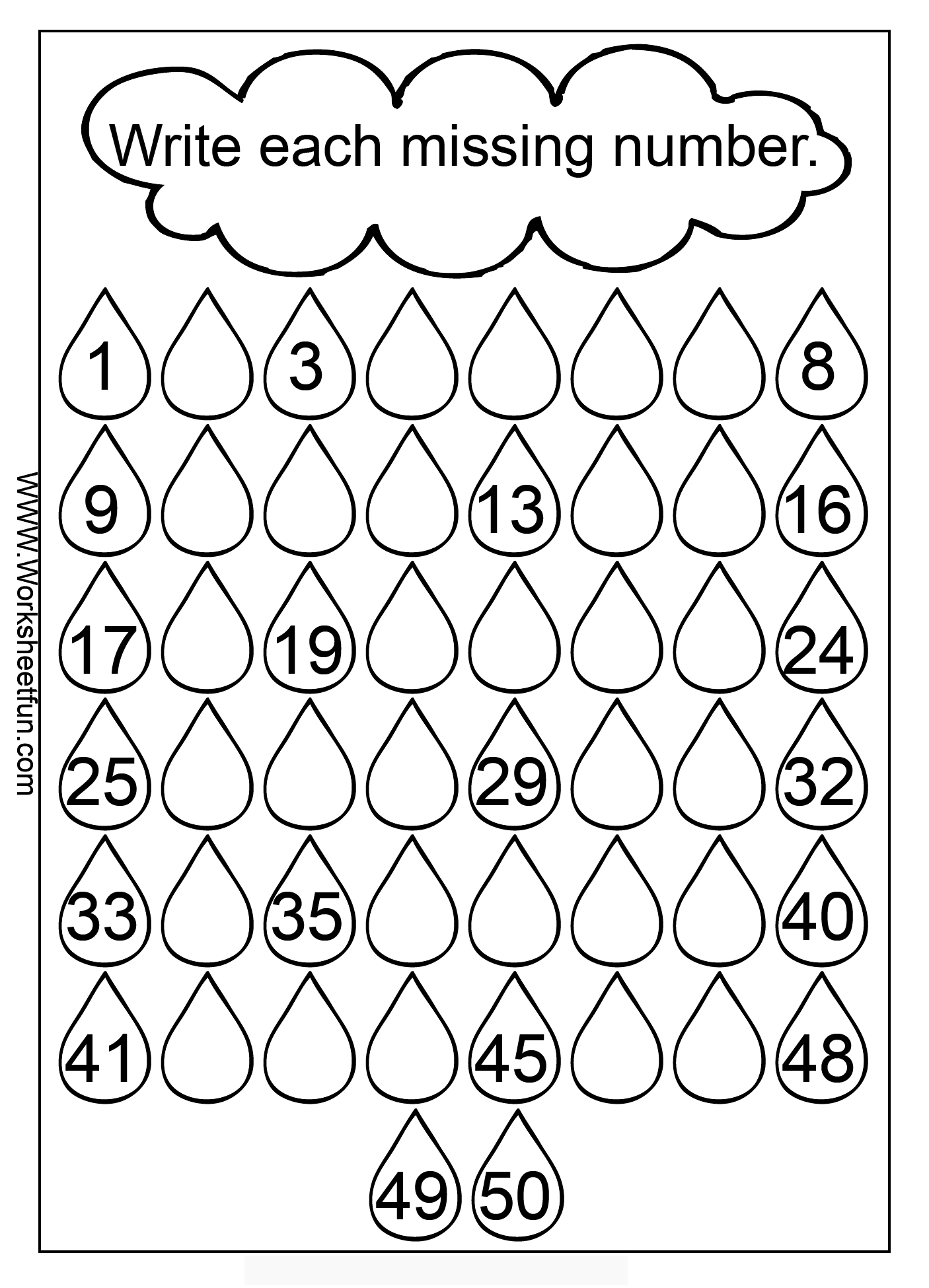 Missing Numbers 1 50 Three Worksheets Kindergarten Math Worksheets Number Worksheets Kindergarten Kindergarten Addition Worksheets
