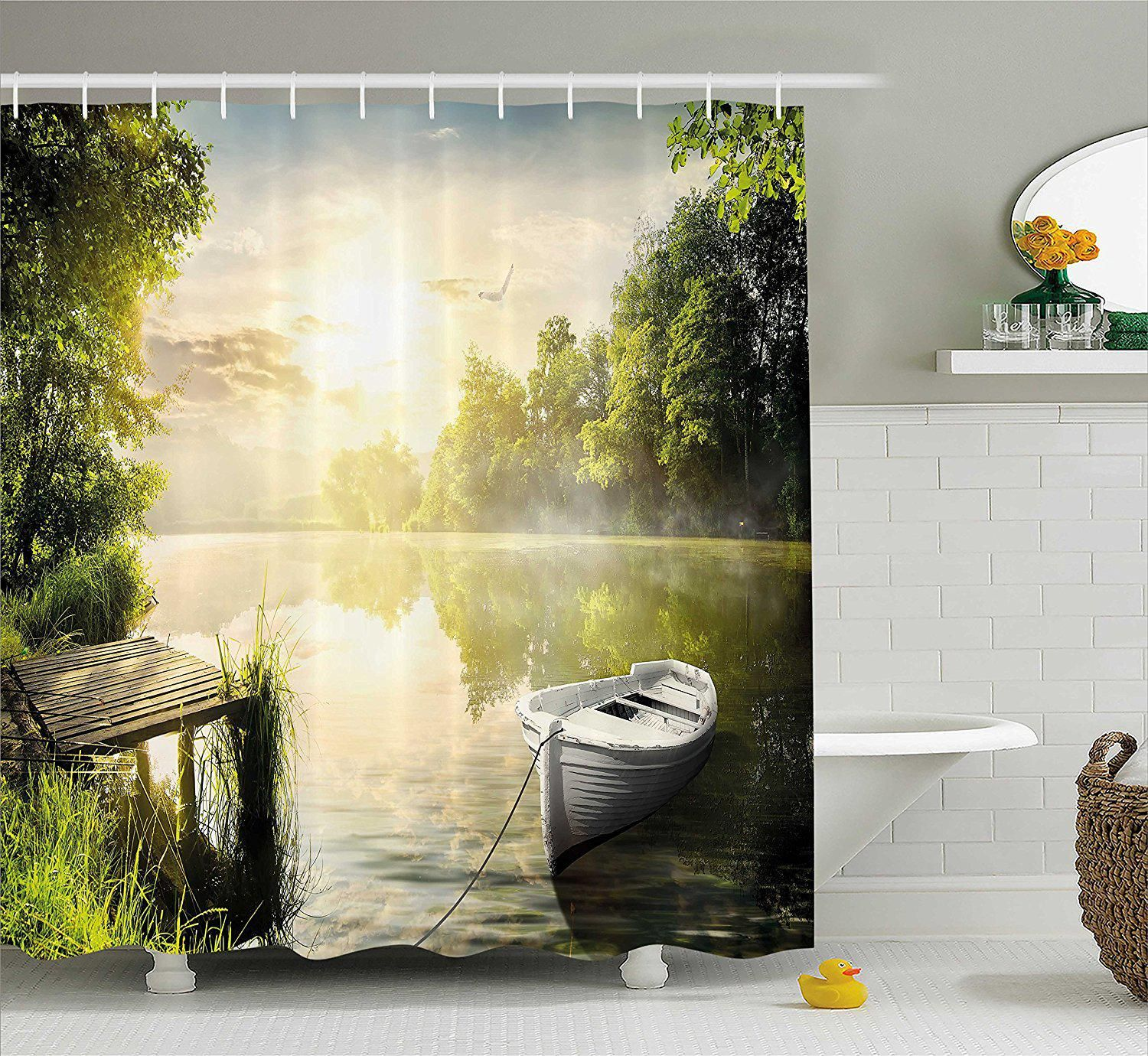 Nature Shower Curtain Boat By The Foggy Lake Deck Dreamy Forest In Us 16 94 Country Decor Diy Country Style Bathrooms Bathroom Decor Sets