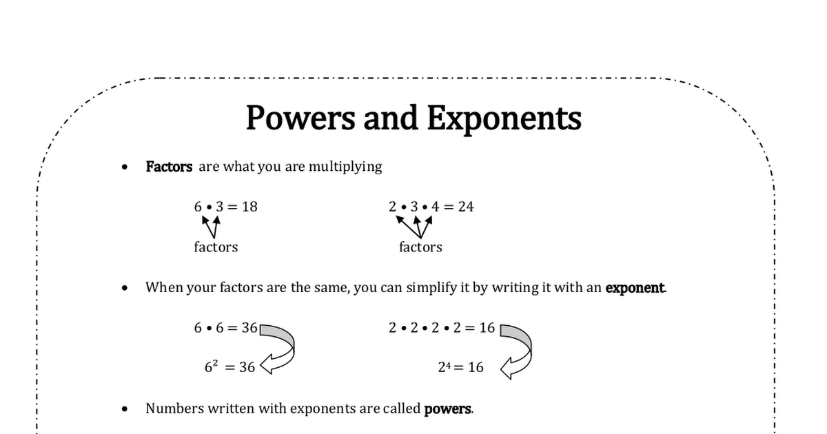 Powers and Exponents Notes pdf | Math | Pdf, Math, Notes