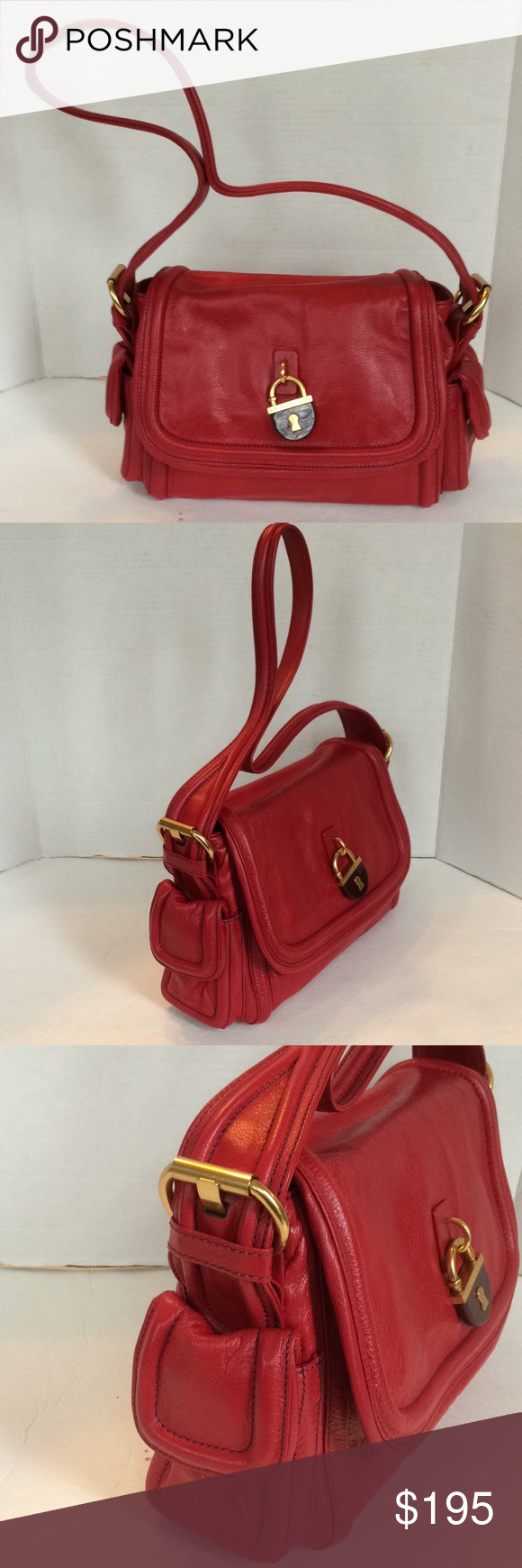 f052d6c5aa5 New Marc By Marc Jacobs Leather Shoulder Bag This beautiful new bag is  simply stunning. It features Buttery Soft 100% red cow hide leather with  gold tone ...