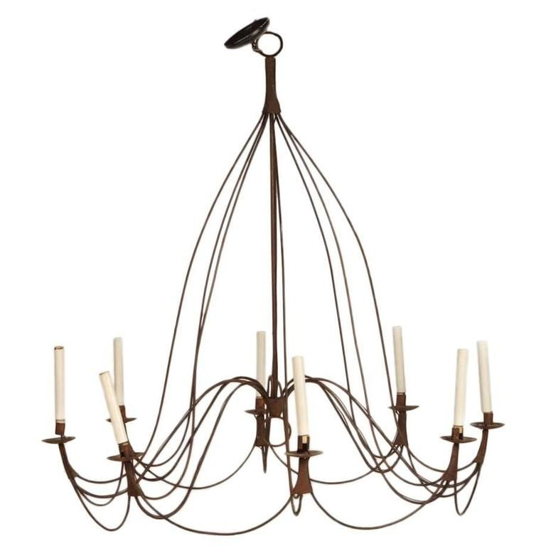 Large Rustic French Provincial Eight Light Chandelier Rustic