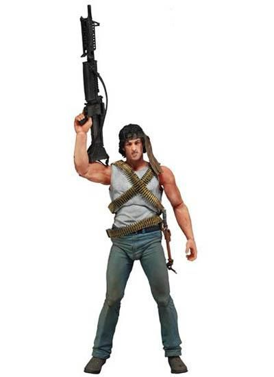 John Rambo First Blood Figure - John Rambo comes to life as a high-quality action figure! Directly out of the First Blood movie, this Rambo Series 1 John Rambo First Blood Action Figure features an impressively realistic head sculpt of Sylvester Stallone. Measuring 6 3/4-inches tall, the action figure sports over 25 points of articulation, a survival knife, a machine gun, and more.