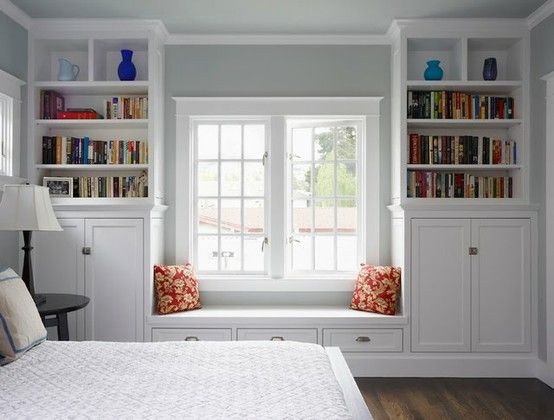 Possibility for window seat area simply closets cabinets media center entertainment center