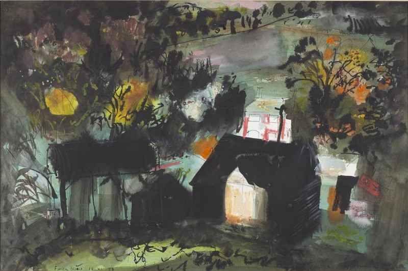 JOHN PIPER - Fawley Bottom, 1973, Ink & Watercolour, 15 x 22.5 ins