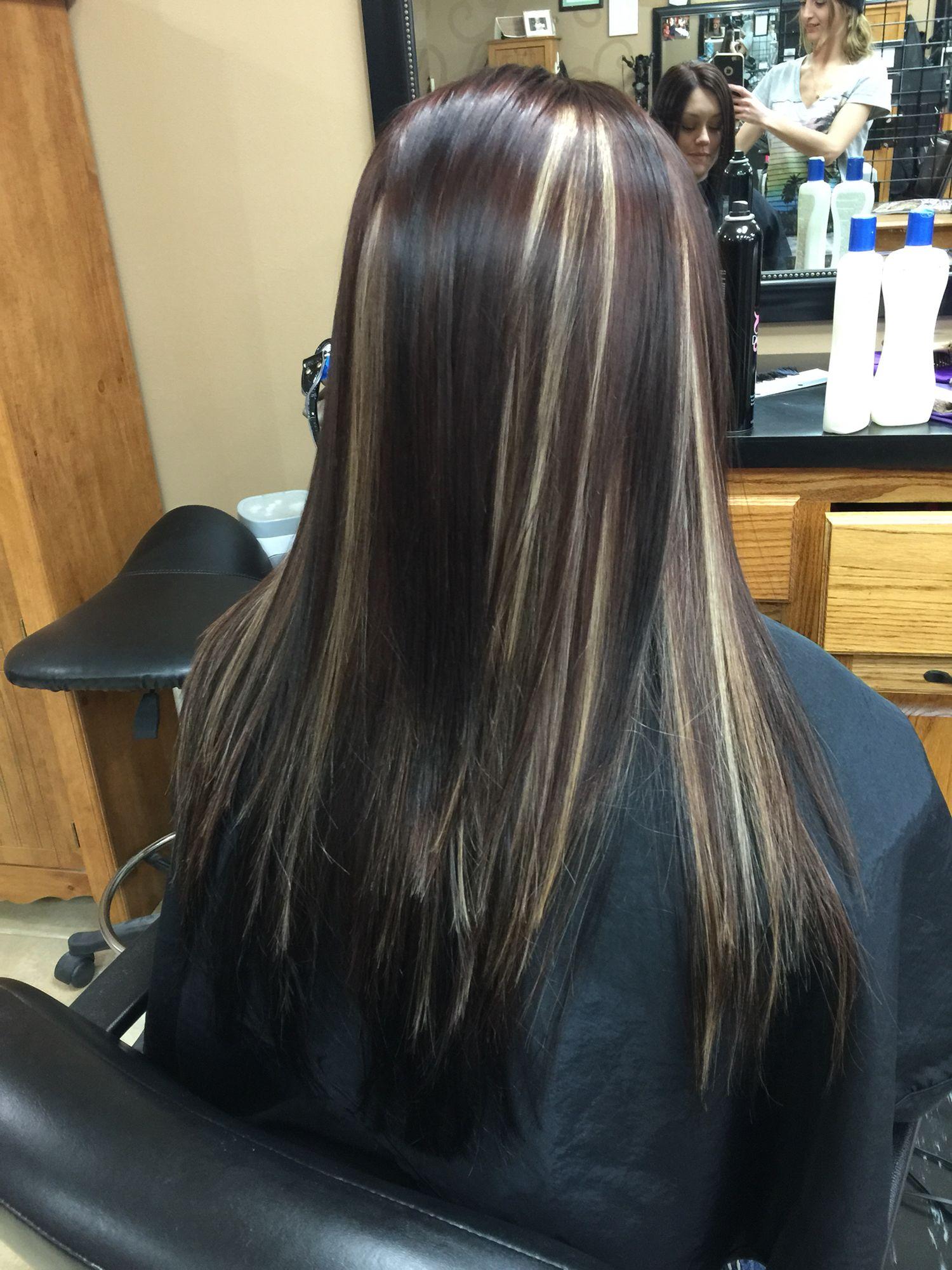 Dark Brown Black Hair With Heavy Platinum Highlights Highlights For Dark Brown Hair Hair Styles Blonde Hair With Highlights