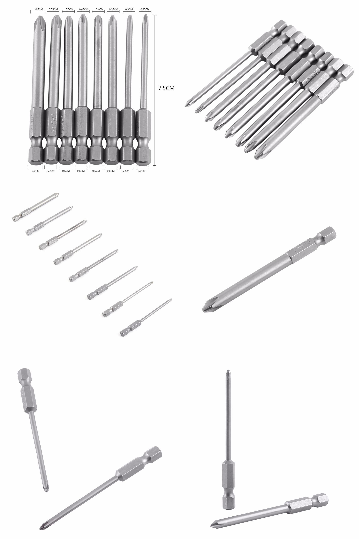 8Pcs//Set 75mm 1//4 Hex Shank Magnetic Cross Head Long Screwdriver Bits Tool New
