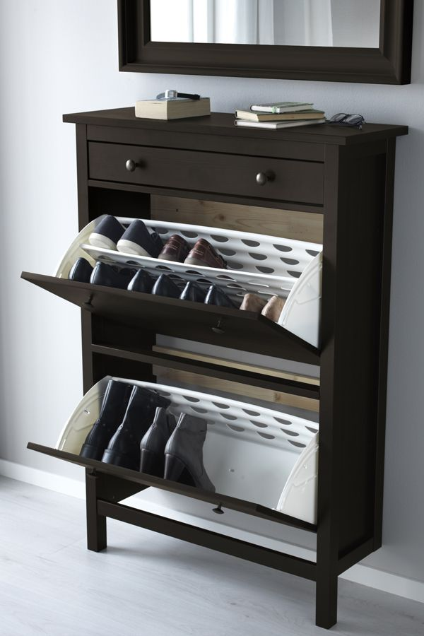 hemnes shoe cabinet with 2 compartments black brown zu. Black Bedroom Furniture Sets. Home Design Ideas