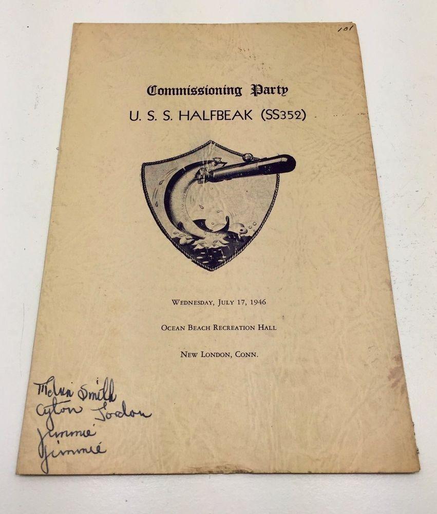 Details about Rare Vintage Commissioning USS HALFBEAK SS 352 Sub