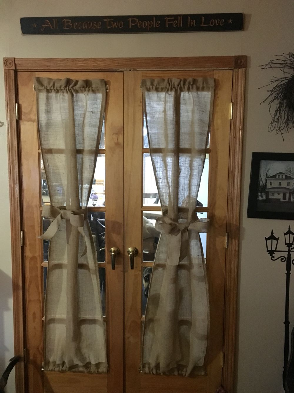 Kitchen French Door Curtains Burlap French Doors Diy Diy Burlap Curtains In 2019 French