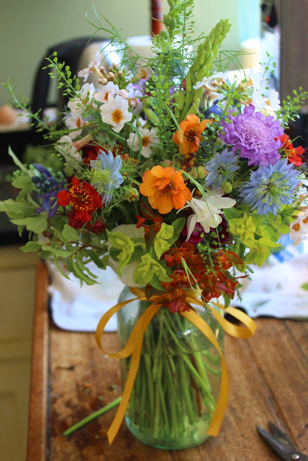 Lock Cottage Flowers Large Mixed Bouquet In 1 Litre Kilner