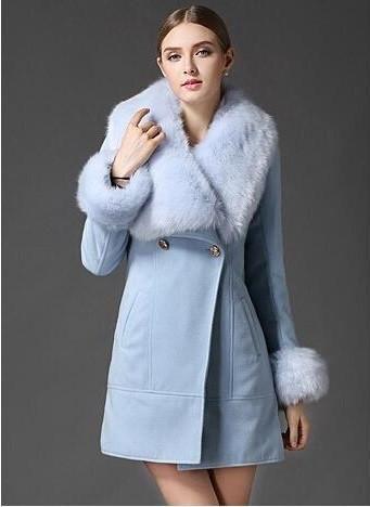 Women's Light Blue Faux Fur Collar Wool Woolen Coat Jacket | Faux ...