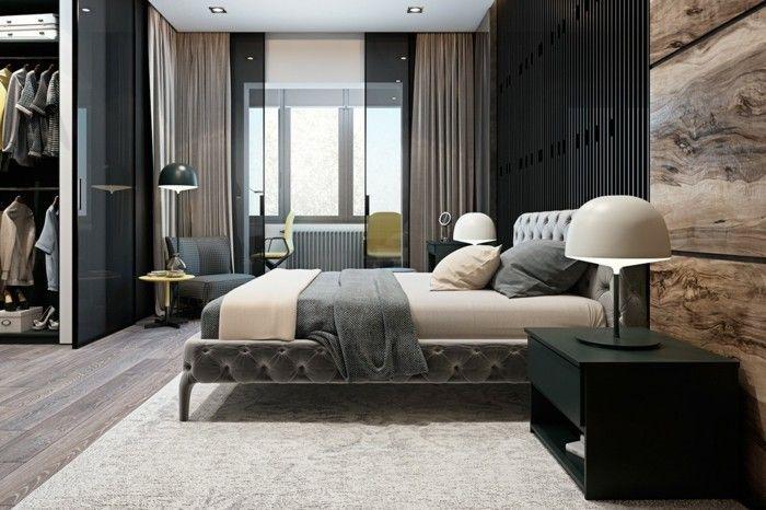 modernes wohnen luxuriöses schlafzimmer mit teppich und gardinen - gardinen für schlafzimmer