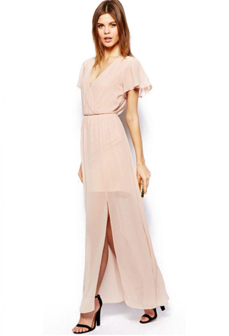 Nude v neck short sleeve split chiffon dress abaday styles