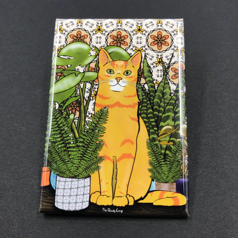 Orange Cat And House Plants Retro Themed Magnet Handmade Etsy Cat Gifts Orange Cat House Plants