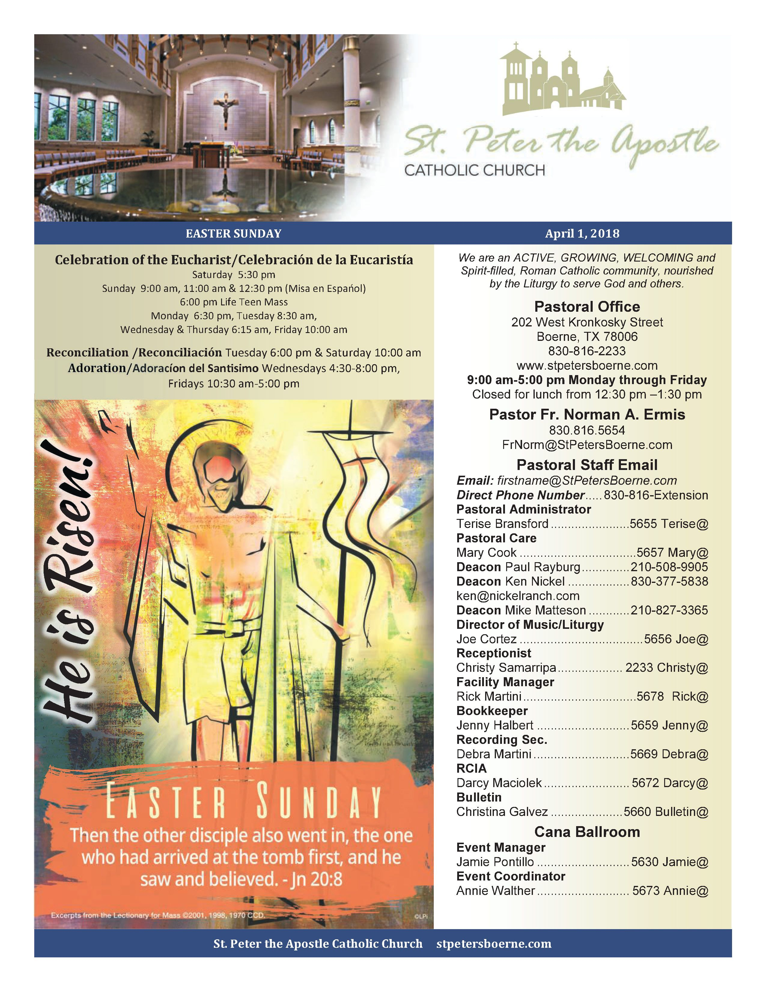 April 1, 2018 Bulletin Eucharist, Easter church, Liturgy