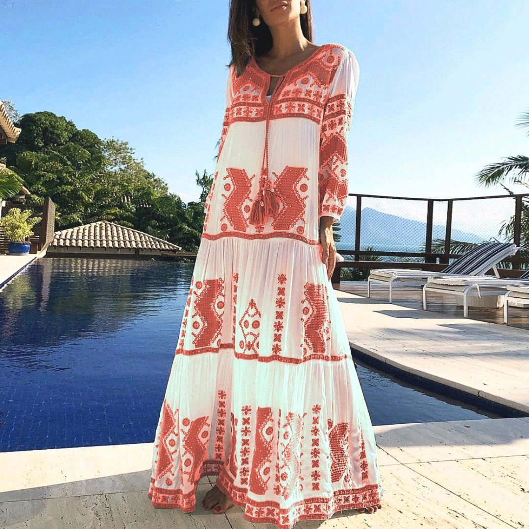 Spring Summer Cotton And Linen Floral Printed Vacation Maxi Dress Vacation Maxi Dress Maxi Dress Dresses [ 1080 x 1080 Pixel ]