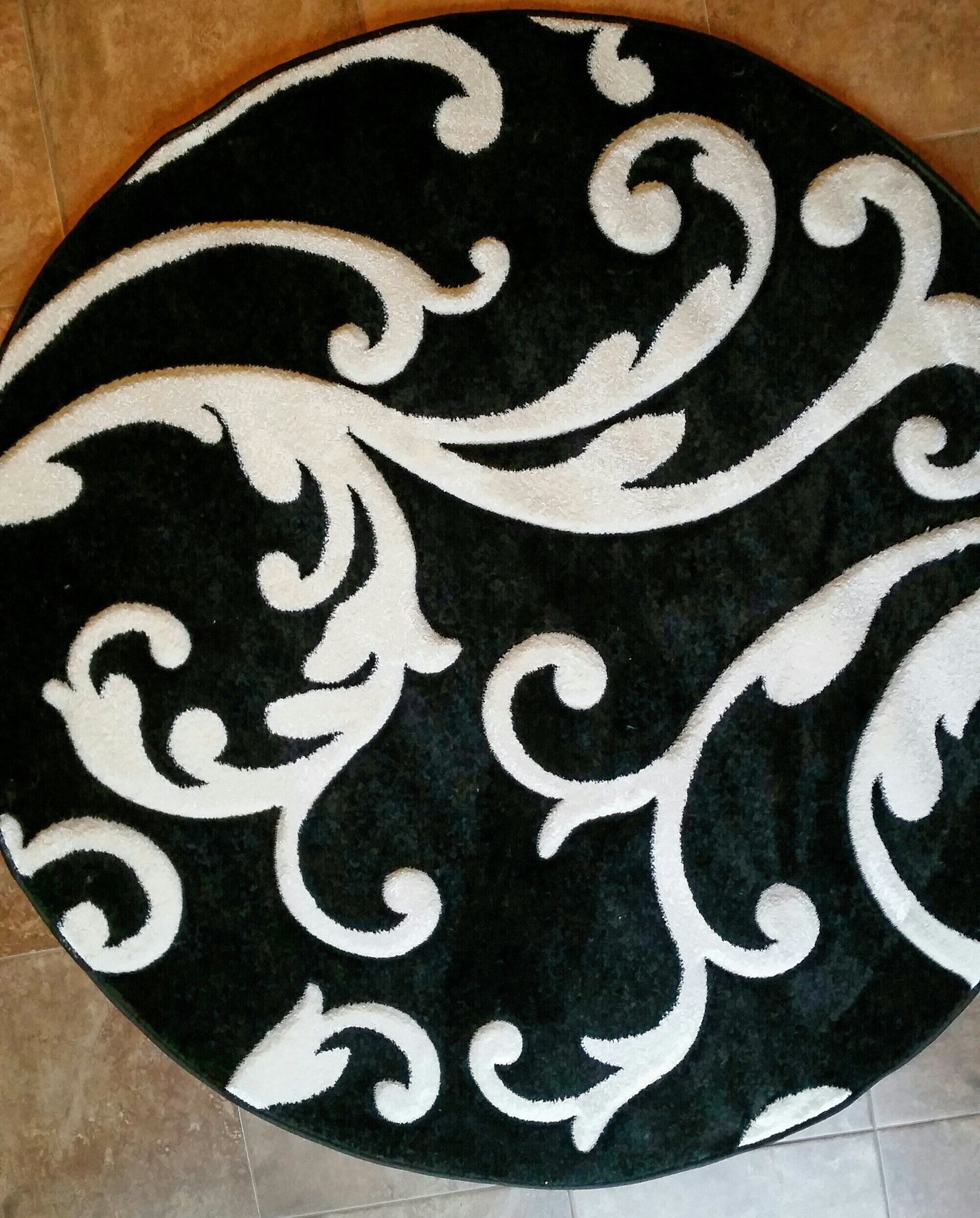 Amazon Com Modern Round Area Rug Hollywood Black Pure White