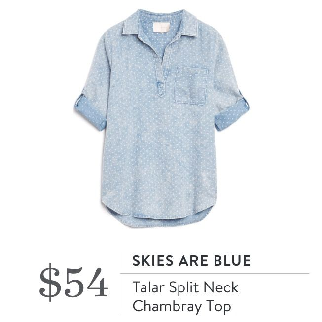 Talar Split Neck Chambray Polka Dot Top (Plus Size) || Sign up to ...
