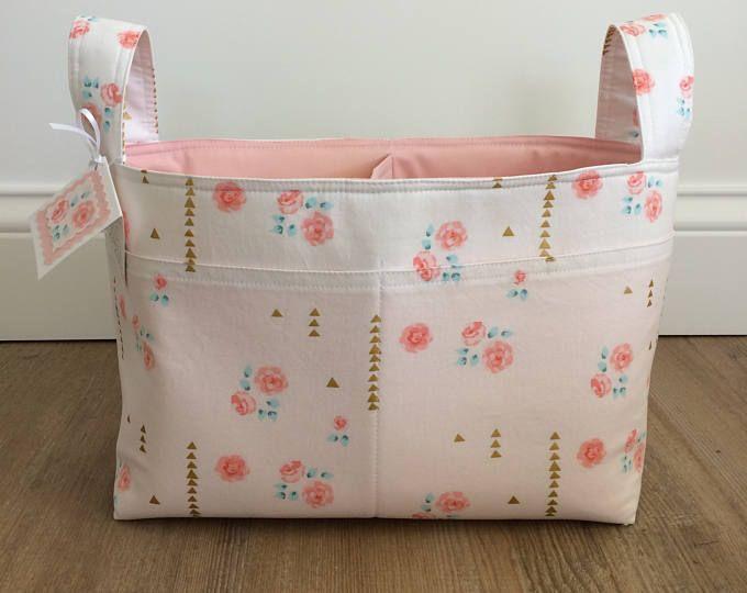 carrito de pañales ~ cesta de tela ~ tela floral de menta coral oro divide la cesta ~ almacenamiento de vivero ~ organizador del juguete de ~ vivero decoración ~ carrito de almacenamiento de información