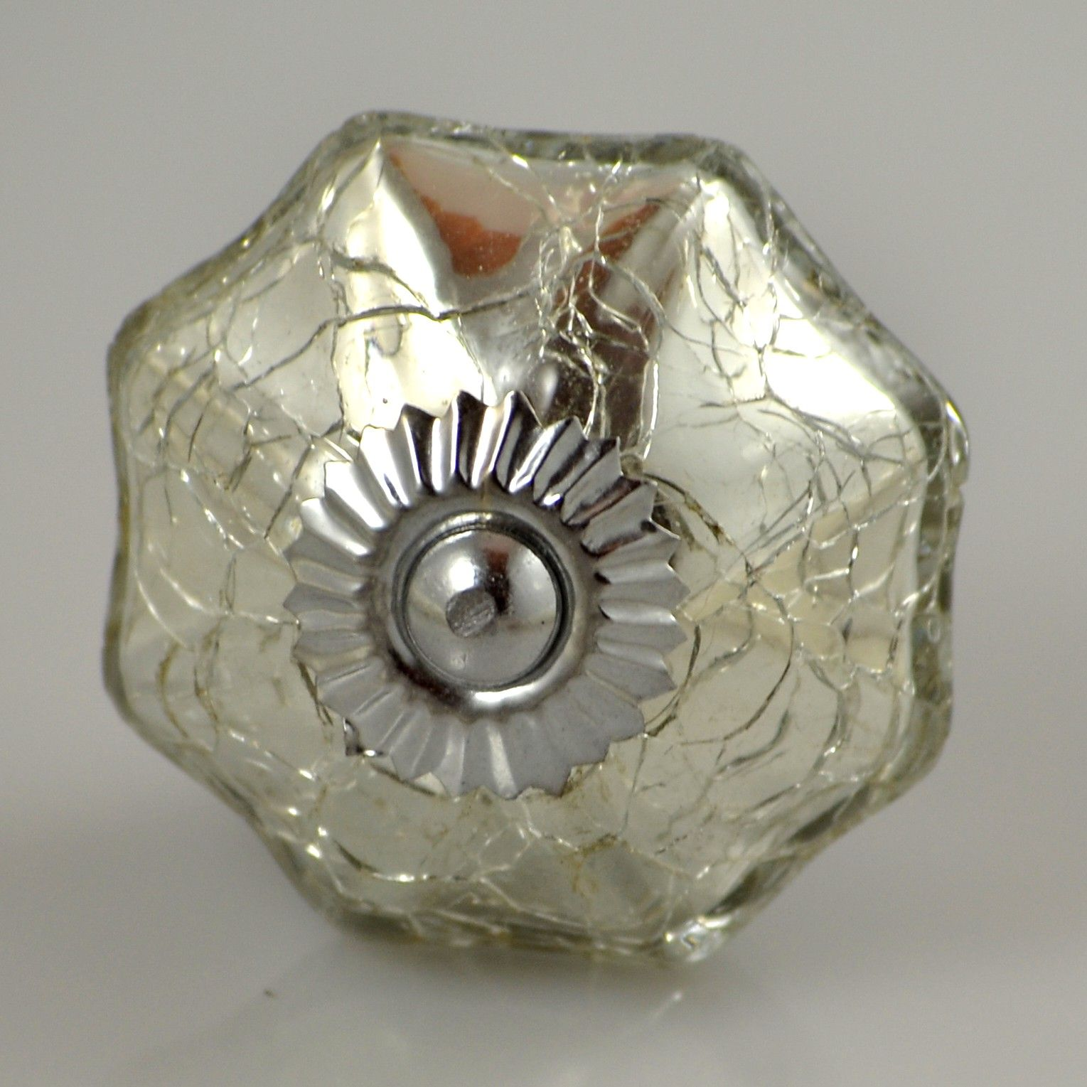 glass cabinet knobs. Mercury Glass Parasol Knob - Crackled Silver Cabinet Knobs