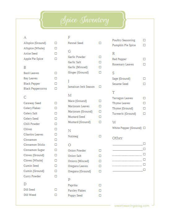graphic relating to Spice List Printable titled Spice Stock Printable recipes Pantry stock