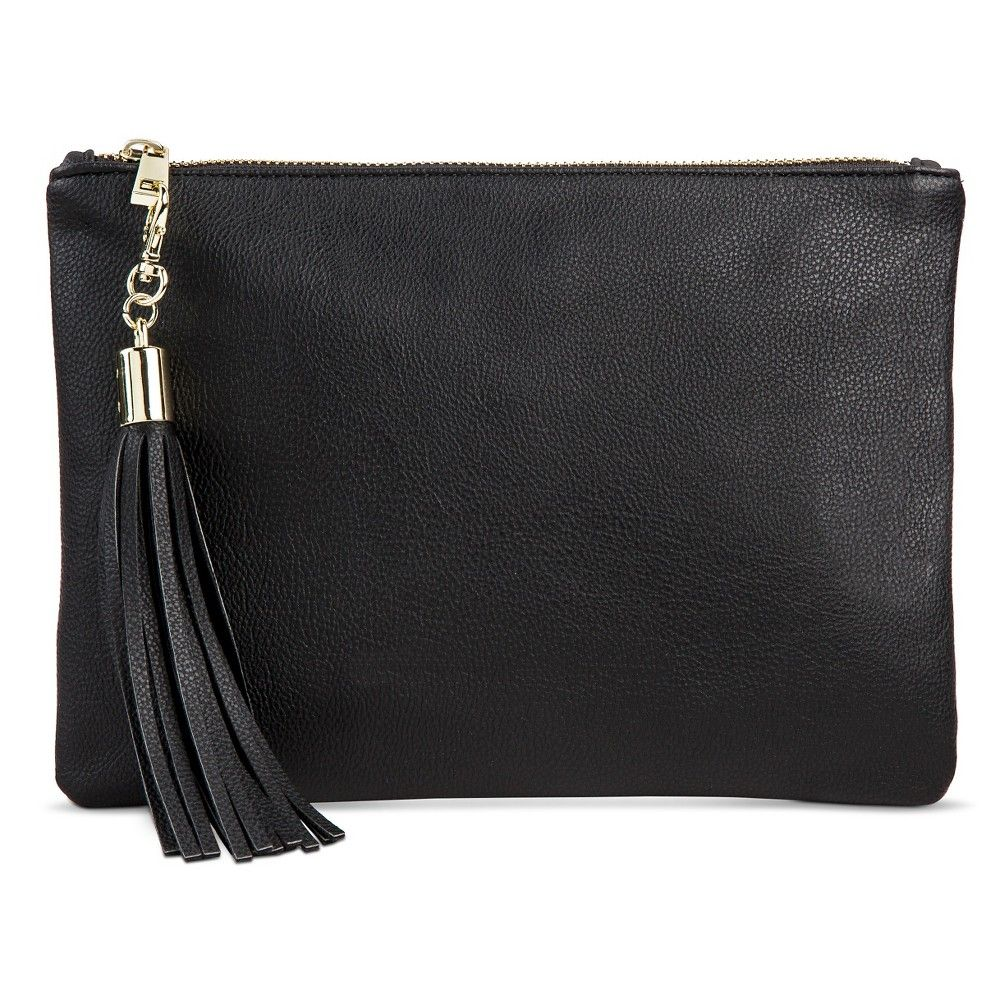 2550ea9146a7 Faux Leather Clutch with Tassel and Zip Closure - A New Day™ Black ...