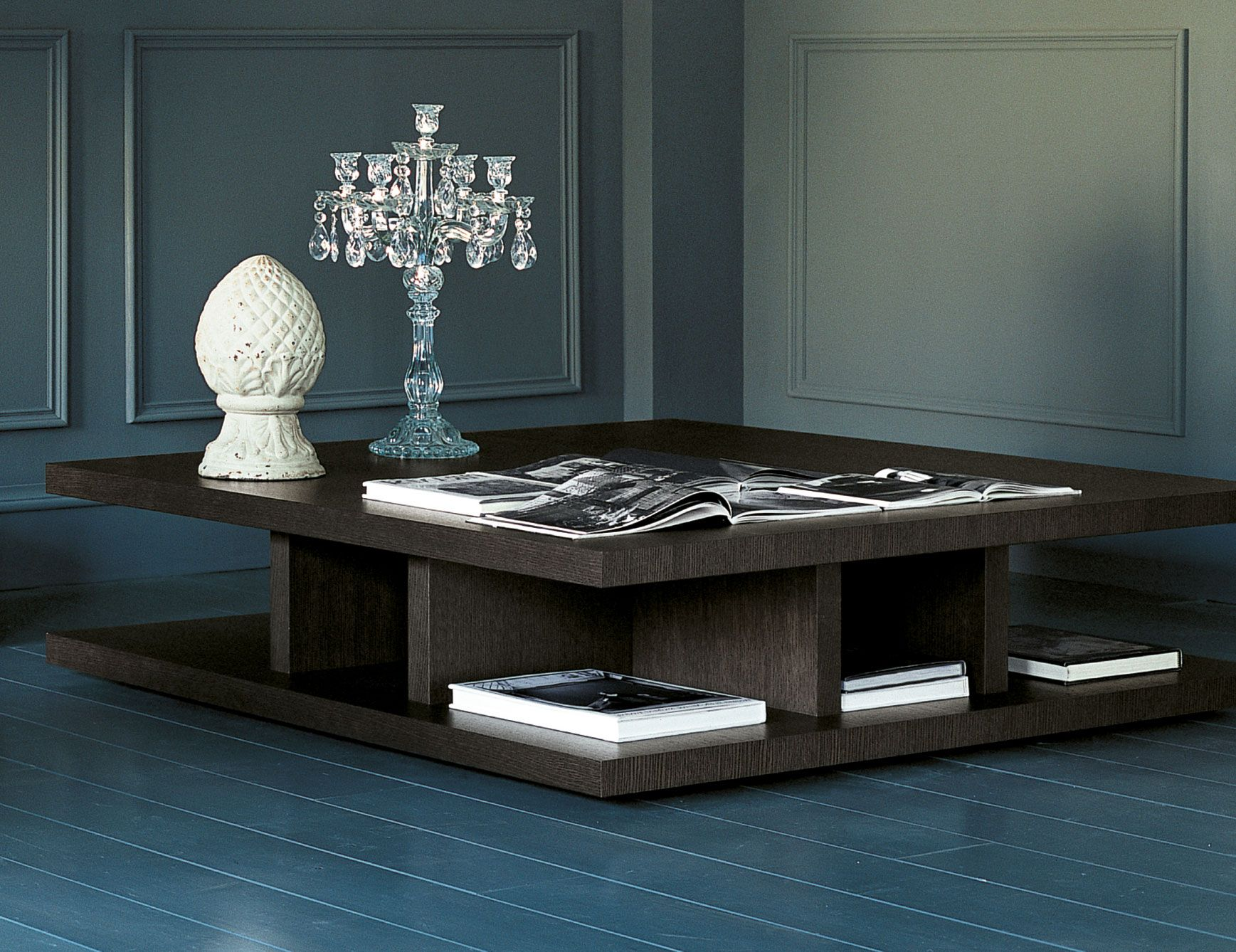 Brera luxury Italian coffee table shown in ebony wood This luxury
