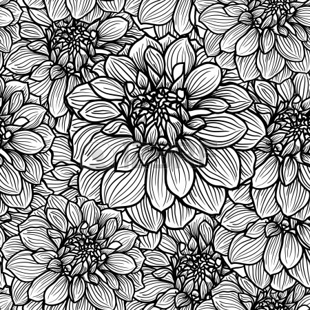 seamless avec dessin s la main de fleur de dahlia noir et blanc