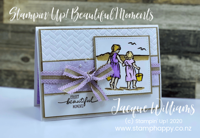 Make this pop up card with the Beautiful Moments stamp set!  Lovely beach scene with Rangitoto island in the background.