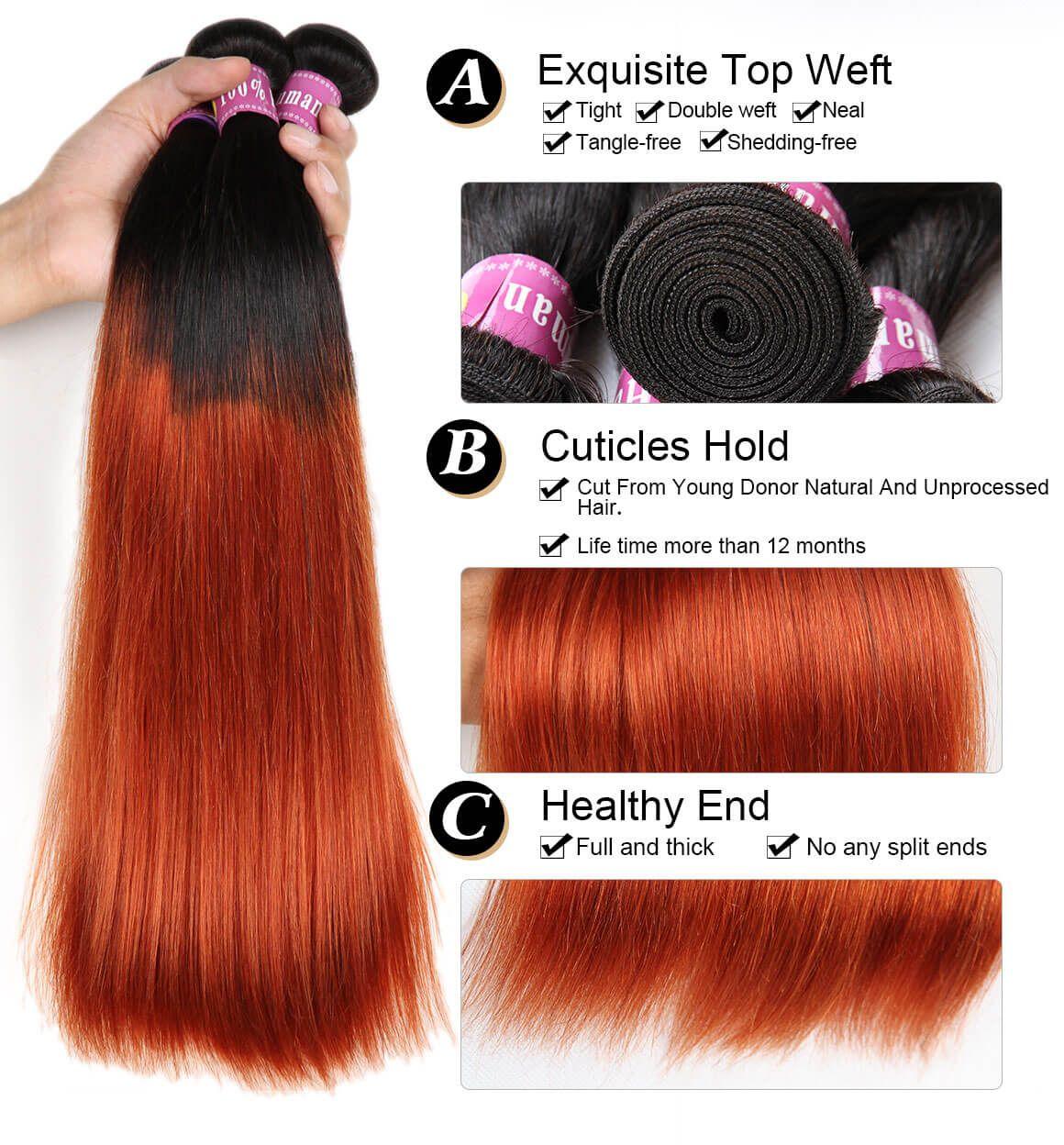 1B/350 Color Ombre Hair Straight Bundles Human Virgin Hair