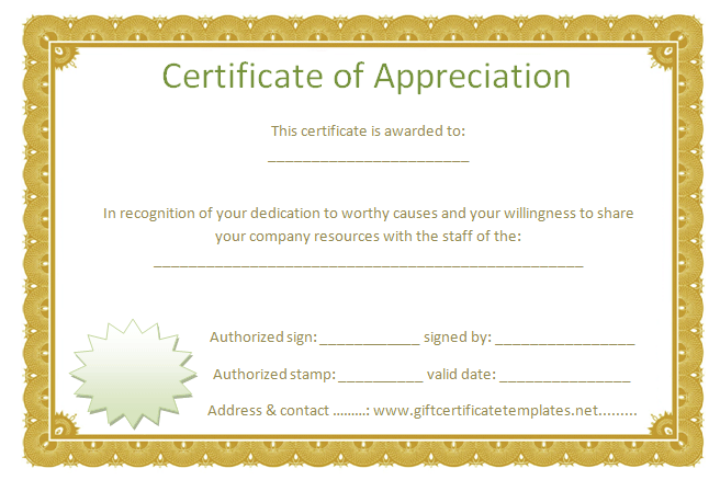 Golden Border Certificate Of Appreciation   Free Certificate Templates  Free Template For Certificate